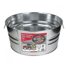"Mfr #: 1GS, Capacity: 10-1/2 Gallon, Ideal for planters, storage, decor and more, Durable - the strength of steel, Vintage/classic look, Better than plastic - rodent proof, won't absorb odors, won't leach into food, Recyclable - made with no oil, Offset bottom keeps tub off ground, Wire reinforced top rim, Deep swedging adds strength, Weather resistant - won't rust, Made in USACapacity: 10-1/2 Gallon  Height: 10-1/2"" Diameter: 20"" Weight: 5 lb."