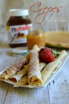 Crepes recipe from PlaceOfMyTaste. I remember making crepes in French class in elementary school as part of the culture unit. Delicious and easy!