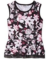 DKNY Girls' City Garden Floral-Print Top