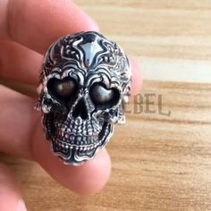 Highest Quality Sterling Solid Silver 925 Ring Weight about: 22 Grams (Approx. Punk Jewelry, Skull Jewelry, Hippie Jewelry, Silver Jewelry, Vikings, Badass, Sterling Silver Wedding Rings, Silver Ring, Hammered Silver