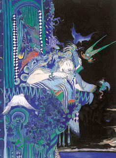 Art And Illustration, Illustrations, Fantasy Concept Art, Fantasy Art, Anime Kunst, Anime Art, Painting Inspiration, Art Inspo, Yoshitaka Amano