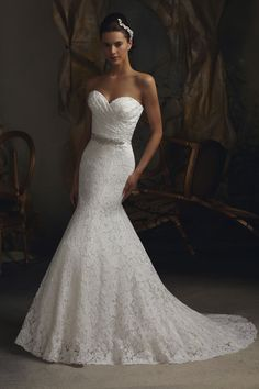 Mori Lee - Blu TAGS:Embroidered, Fishtail, Floor-length, Floral, Strapless, Train, White, Mori Lee, Lace, Retro (Vintage)
