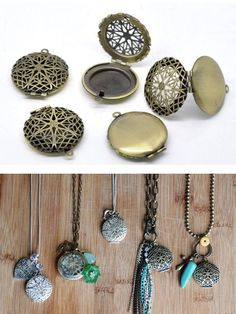 make your own essential oil diffuser necklaces. So easy and so inexpensive-- This set of 5 diffuser pendants is only $7 ($1.40 a piece)!! you can get them by clicking on this photo (this is an affiliate link)