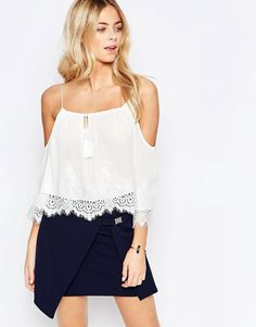 Parisian+Cold+Shoulder+Embroidered+Top+with+Tassel+Detail