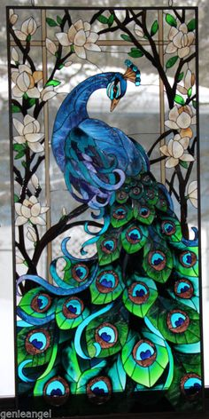 SPECTACULAR PEACOCK & MAGNOLIAS LOTUS FLOWER 17x37 ART GLASS WINDOW WALL PANEL