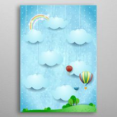 Latest sale on #Displate #surreal #fantasy #landscape #spring #day #daylight #balloon #hotairballoon #countryside #dream #daydream #imagination #cloud #cloudscape https://displate.com/displate/264995