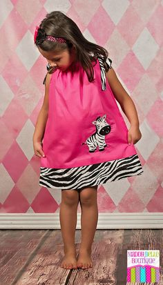 Girls Pink Zebra Pillowcase Dress by MaddyBelleBoutique on Etsy, $25.00