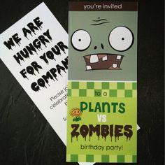 Plants vs Zombies party invite.