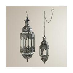 Cost Plus World Market Antiqued Zinc Latika Hanging Lanterns ($30) ❤ liked on Polyvore featuring home, home decor, candles & candleholders, cost plus world market, lantern chandelier, handmade home decor and hanging lantern