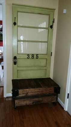 Hall Tree, Made From An Antique Door From A Local 1800u0027s Farmhouse And An Old  Antique Trunk. | My Latest Pinterest Project | Pinterest | Antique Doors,  ...