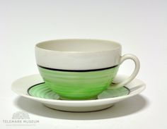 Cup and saucer, Porsgrund Porselen, Design Nora Gulbrandsen, Production year Modell: Dekor: 6668 Tea Cup, Cup And Saucer, Coffee, Deco, Tableware, Green, Design, Scale Model, Kaffee