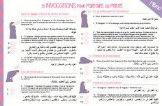 15 Invocations pour parfaire sa prière mémo à imprimer - Le blog pratique de la femme musulmane Muslim Faith, Islam Muslim, Islam Quran, Hadith, Alhamdulillah, Ablution Islam, Invocation Islam, Parol, All About Islam