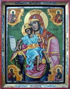 Madonna with 4 Apostles Byzantine Icons, Byzantine Art, Archangel Raphael, Queen Of Heaven, Russian Icons, Madonna And Child, Orthodox Icons, Angel Art, Blessed Mother