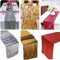 """12""""x108"""" Gold/Silver/Champagne Sequin Table Runner Sparkly Wedding Party Decor"""
