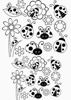 BAÚ DA WEB: Desenhos e riscos de joaninhas para colorir, pintar, imprimir ou preparar atividades!