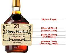 Birthday Custom Label, Cognac Style Custom Label, Personalized cognac Label, Birthday label for Alcohol Hennessy Label, Hennessy Bottle, Mini Bottles, Liquor Bottles, Alcohol Bottles, Personalized Labels, Custom Labels, Whiskey Label, Bottle Cleaner