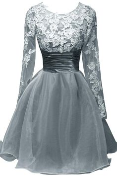 ORIENT BRIDE Scoop Appliques Short Cocktail Party Dresses with Long Sleeves Size 4 US Steel Grey