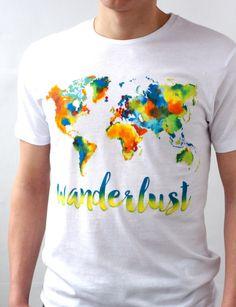 Wanderlust Shirt Colorful Tshirt World Map Hand Painted Designer Shirts Art Clothing Handpainted Paint T Shirt Tee Gift for Him Boyfriend (39.00 USD) by SnitkoStudio