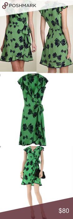 "Nanette Lepore ""Swept Away"" Dress. XS Nanette Lepore ""Swept Away"" Dress in Green and Navy Bow print silk. Size XS. Nanette Lepore Dresses"