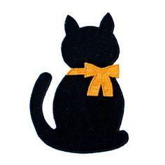 Kitten applique Cat Applique, Applique Templates, Applique Patterns, Applique Quilts, Embroidery Applique, Halloween Applique, Halloween Quilts, Halloween Cat, Girls Quilts