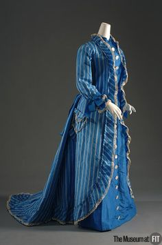 Dress Made Of Blue And White Silk Taffeta, Lace And Mother-Of-Pearl - American   c.1878   -  The Museum at FIT
