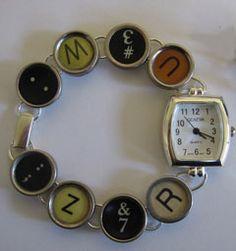 DIY funky little typewriter watch - birthdate , monogram, you name it:)