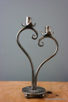 Heart Design Candle holder  Blacksmith Hand Forged  6th