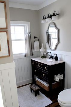 Trendy Ideas For Farmhouse Bathroom Vanity Diy Benjamin Moore Trendy Bathroom, Small Bathroom Decor, Bathroom Vanity Designs, Bathroom Refresh, Modern Bathroom Decor, Bathroom Decor, Black Bathroom, Black Vanity Bathroom, Vanity Design