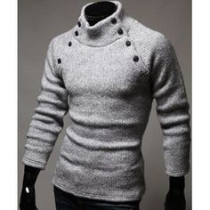 Double-Breasted Solid Color Slimming Half-Collar Long Sleeves Men's Hot Sale Sweater (LIGHT GRAY,2XL) in Cardigans & Sweaters | DressLily.com