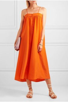 Bright-orange silk Button fastenings along front 100% silk Dry clean Imported