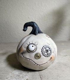 Halloween steampunk Pumpkin white color style by JanellBerryman, $65.00