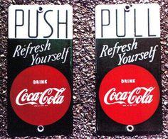 Push & Pull Door Pushes advertising Coca-Cola.