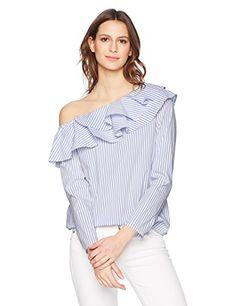 92ae396c04e14f Calvin Klein Womens Stripe Off Shoulder Ruffle Blouse Chambray Combo XS ***  Read more
