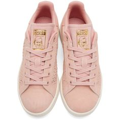 adidas Originals Pink Suede Stan Smith Sneakers (1.274.875 IDR) ❤ liked on Polyvore featuring shoes, sneakers, perforated suede sneakers, suede shoes, suede sneakers, lace up shoes and low top
