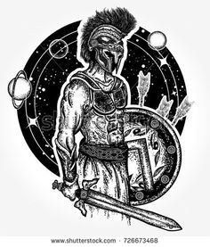 Legionary of ancient Rome and ancient Greece. Gladiator spartan warrior holding sword and shield tattoo art. Symbol of bravery, force, army, hero. Spartan warrior t-shirt design