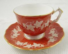 Aynsley Orange Tea Cup and Saucer with Leaves, Vintage Tea Cup, Bone China, Autumn, Teacup and Saucer
