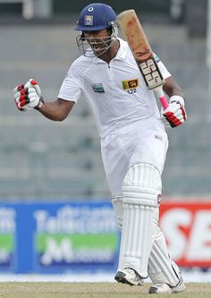 Chandimal (SL) 102, is pumped up after his century, vs Bangladesh, 2nd Test, Colombo, 2nd day, March 17, 2013