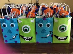 Favor bags at a Monsters University birthday party! See more party planning ideas at CatchMyParty.com!