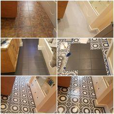 DIY Bathroom Floor Tiling | Refurbished with Cordelia Tile Stencil #bathroomideas #tile #paint #diy