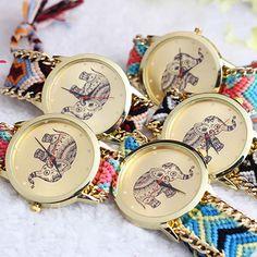 Popular Women's Retro Knitted Elephant Pattern Quartz Analog Bangle Wrist Watch  #FashionCasual