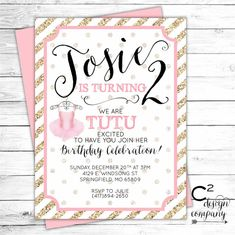 Tutu Cute Birthday Party Invitation by cSquaredDesignCo on Etsy