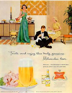 It always interests me how sometimes in late 50s ads (such as this Miller Beer one from 1959) you can already see the colour palette (oranges, golds, browns, etc) of the 60s emerging. #vintage #beer #ad #1950s #retro #glamorous