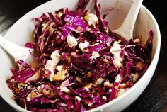 Red Cabbage and Goat Cheese Salad – 3 Points - LaaLoosh -- I added Splenda, onion salt and Crazy Salt to the dressing. Also, be sure to buy crumbly goat cheese! Sauteed Red Cabbage, Red Cabbage Salad, Cabbage Salad Recipes, Beet Salad Recipes, Ww Recipes, Side Dish Recipes, Great Recipes, Healthy Recipes, Healthy Food