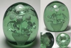 Magnum Antique English Green Glass Dump Paperweight with Seven Foil Flowers.  Circ 1840-1860