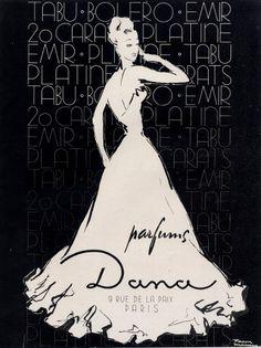 Dana (Perfumes)  1948 Facon Marrec Vintage advert Perfumes illustrated by Facon Marrec | Hprints.com