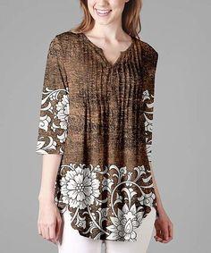 cc34ebdeadb Brown & Cream Floral Pleated Three-Quarter Sleeve Tunic - Plus