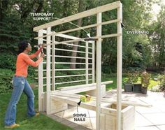 Arbor with Built-in Benches----Trellis, Planter Boxes, Bench (DIY) * (Fire Pit area by garden-opening facing N and rail sides to S and E - hang herbs from rail side backs to the S & E)