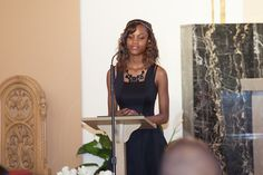 A 2013-14 Grade 8 graduate speaking at the graduation ceremony.