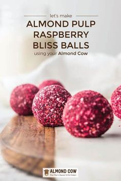 Almond Pulp Raspberry Bliss Balls featuring almond milk pulp from the Almond Cow. Naturally gluten-free, plant-based, refined sugar-free and super easy to make. Vegan Desserts, Just Desserts, Delicious Desserts, Vegan Recipes, Cooking Recipes, Candy Recipes, Sweet Recipes, Dessert Recipes, Pulp Recipe
