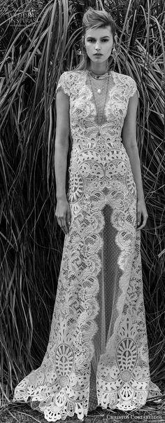 christos costarellos spring 2018 bridal cap sleeves illusion jewel deep v neck full embellishment elegant bohemian modified a line wedding dress keyhole back sweep train (40) mv lv -- Costarellos Spring 2018 Wedding Dresses